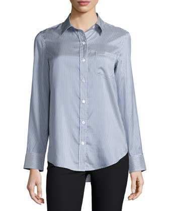 Simara Striped Silk Button-Down Shirt