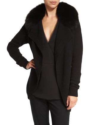 Shurelia Loryelle Cardigan W/ Fur Collar & Ramalla Reversible Long-Sleeve Top