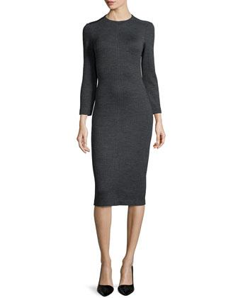 Ekundayo Long Fitted Knit Sheath Dress