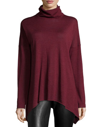 Long Merino Turtleneck Top
