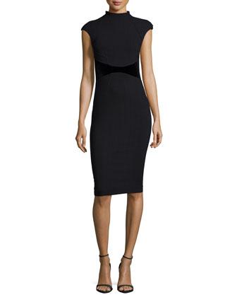 Avery Cap-Sleeve Velvet-Waist Dress