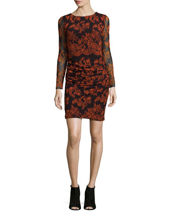 Bangkok Long-Sleeve Printed Ruched Dress