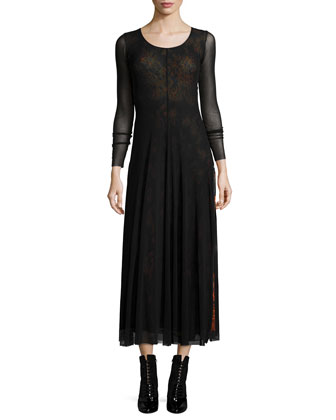 Long-Sleeve Maxi Dress W/ Overlay