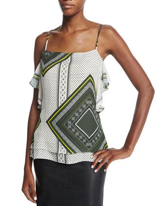 Ruffled Silk Printed Cami Top & Lambskin Pencil Skirt