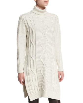 Cable-Knit Side-Slit Turtleneck Dress, Cream Melange