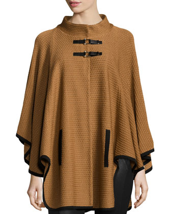 Textured Cape Jacket W/ Toggle Front