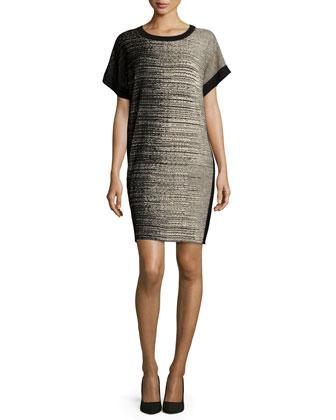 Short-Sleeve Shift Drama Dress