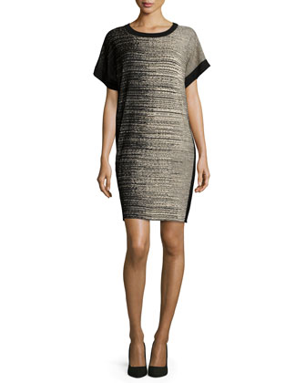 Short-Sleeve Shift Drama Dress, Petite