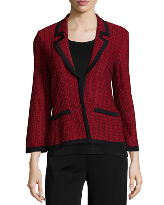 Woven Knit Cropped Jacket, Petite