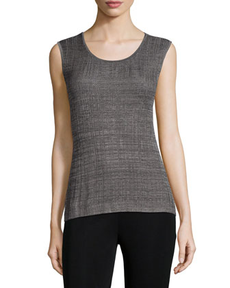 Textured Cascade Jacket, Textured Round-Neck Layering Tank & Slim Ankle Pants