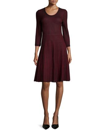 Scoop-Neck Flare Dress, Petite