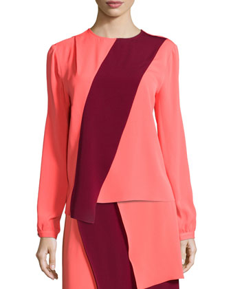 Two-Tone Long-Sleeve Blouse & Tiered Two-Tone Skirt