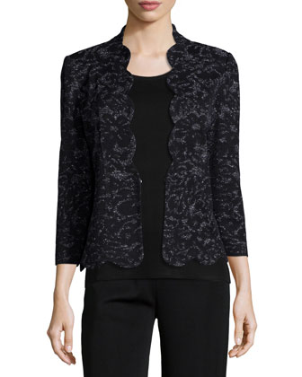 3/4-Sleeve Tailored Scallop-Trim Jacket, Petite