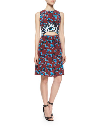 Mallory Ink-Spot-Print Cutout Dress