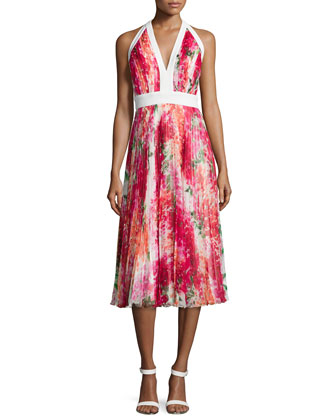 Pleated Floral-Print Halter Dress, Bougan