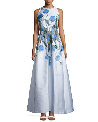 Sleeveless Floral-Print Cutaway Gown, Periwinkle