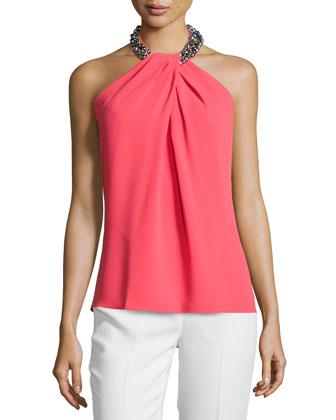 Halter-Neck Embellished Toga Top, Coral