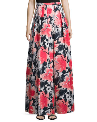 Pleated Floral-Print Long Skirt, Coral
