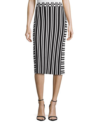 Camilla Striped Knit Pencil Skirt