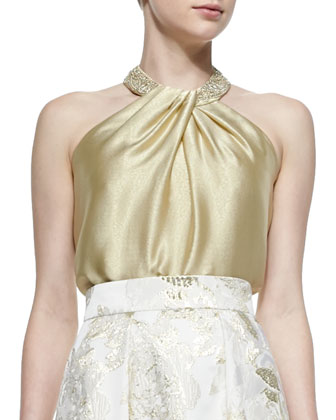 Beaded-Neck Toga Top