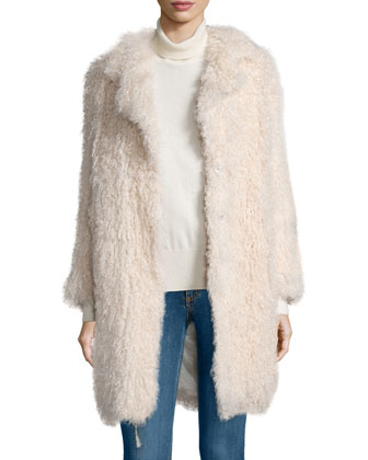 Hart Long-Sleeve Shearling Fur Coat, Nude