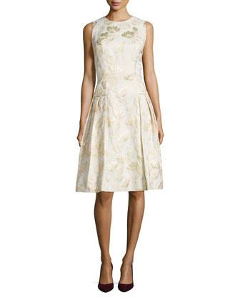Sleeveless Floral Jacquard Cocktail Dress