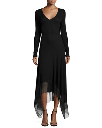 Long-Sleeve V-Neck Dress W/ Mesh-Hem