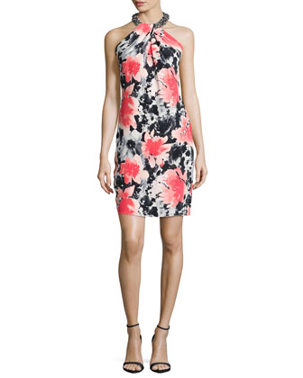 Sleeveless Floral-Print Toga Cocktail Dress, Coral