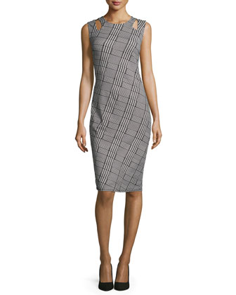 Sleeveless Plaid Sheath Dress W/Cutouts, Black/White