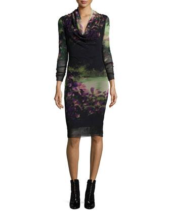 Butterfly-Print Draped-Neck Dress