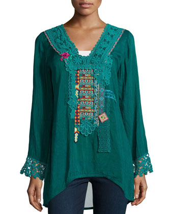 Lacy-Trim Embroidered Blouse, Women's
