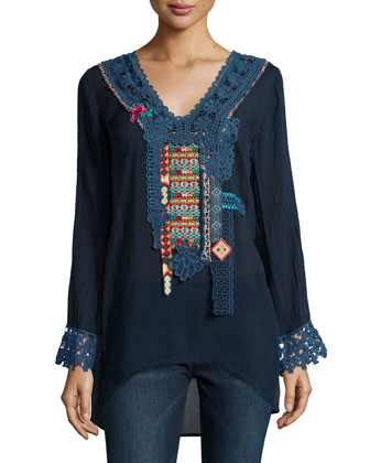 Lacy-Trim Embroidered Blouse