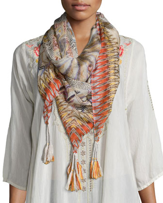 JWLA for Johnny Was Sophie Embroidered Long Coat & Retro Feather Silk ...