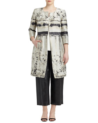 Louanna 3/4-Sleeve Floral Jacquard Topper Jacket, Women's