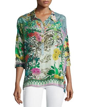 Balu Oversized Floral-Print Blouse, Women's