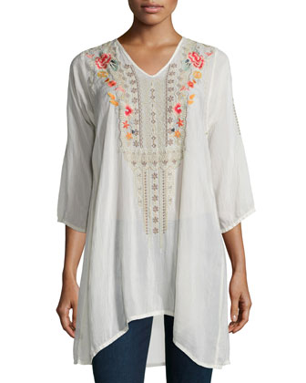 Cynthia 3/4-Sleeve Embroidered Tunic & Multi-String Long Tassel Necklace, ...