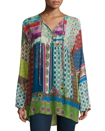 Brightwood Tie-Neck Printed Tunic