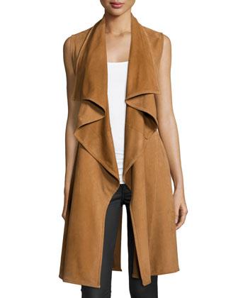 A.L.C. Elem Drape-Front Leather Vest & Daniels Floral-Print Silk Skirt