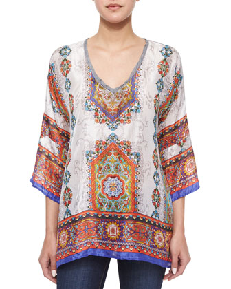 3/4-Sleeve Geometric-Print Tunic