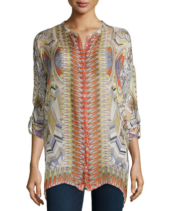 Feather-Print Silk Button-Front Tunic, Women's