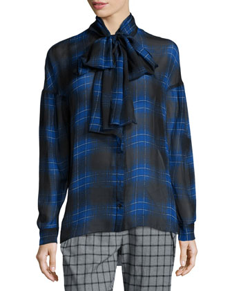 Plaid Tie-Neck Silk Blouse, Blue Multi