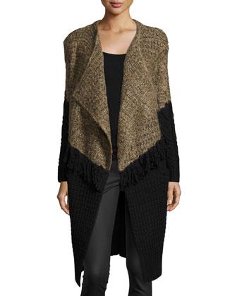 Long Draped-Front Colorblock Cardigan, Brown/Black