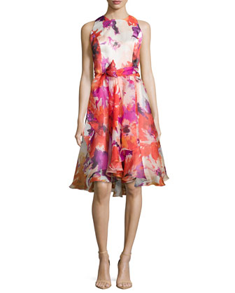 Sleeveless Floral-Print Cocktail Dress, Tomato