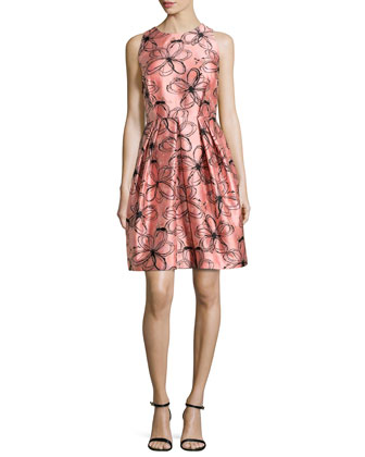 Sleeveless Floral-Print Pleated Dress, Shrimp