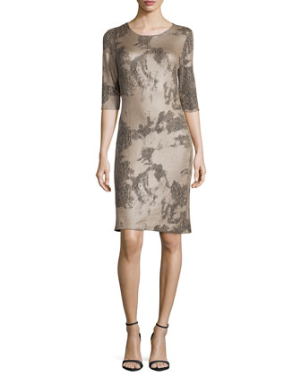 3/4-Sleeve Snake-Print Ponte Dress
