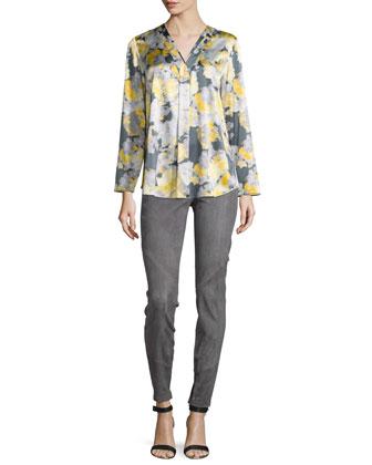 Libby Floral-Print Blouse, Rock Multi