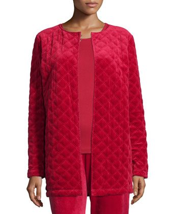 Quilted Velour Topper Jacket, Women's