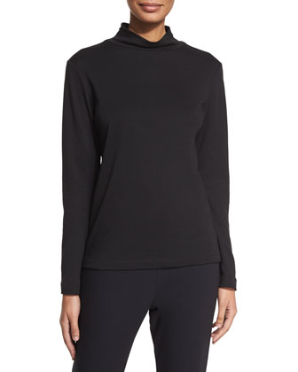 Long-Sleeve Cotton Turtleneck