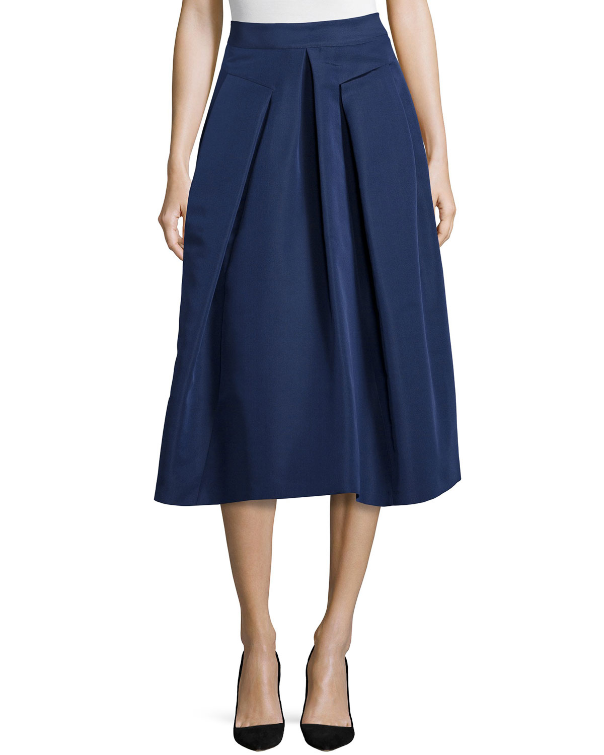 Inverted-Pleat Midi Skirt, Size: 0, Navy - Rebecca Taylor