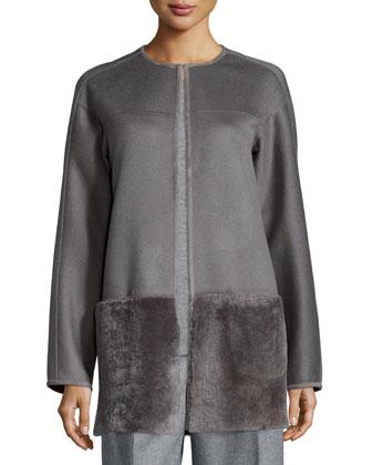 Maureen Shearling Fur-Bottom Topper Coat